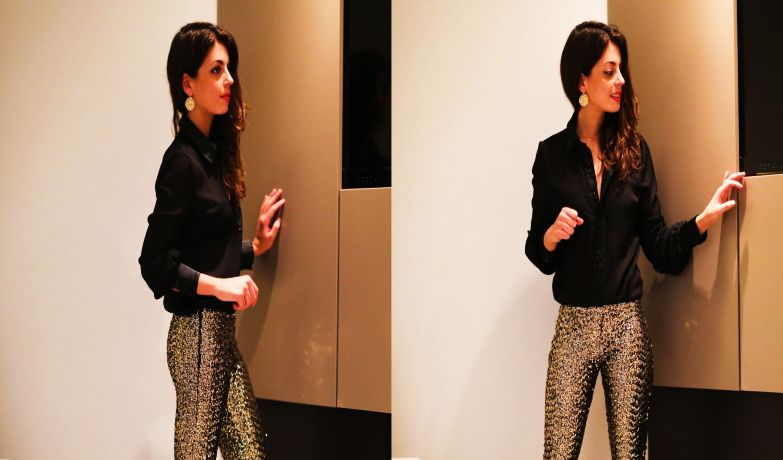 Gold Paille Pants with Black Shirt