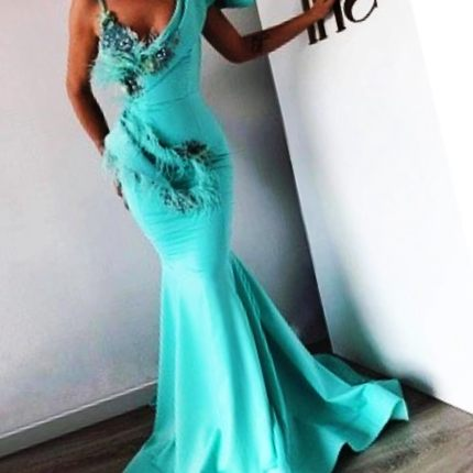 Mermaid Feather Long Formal Evening Dress