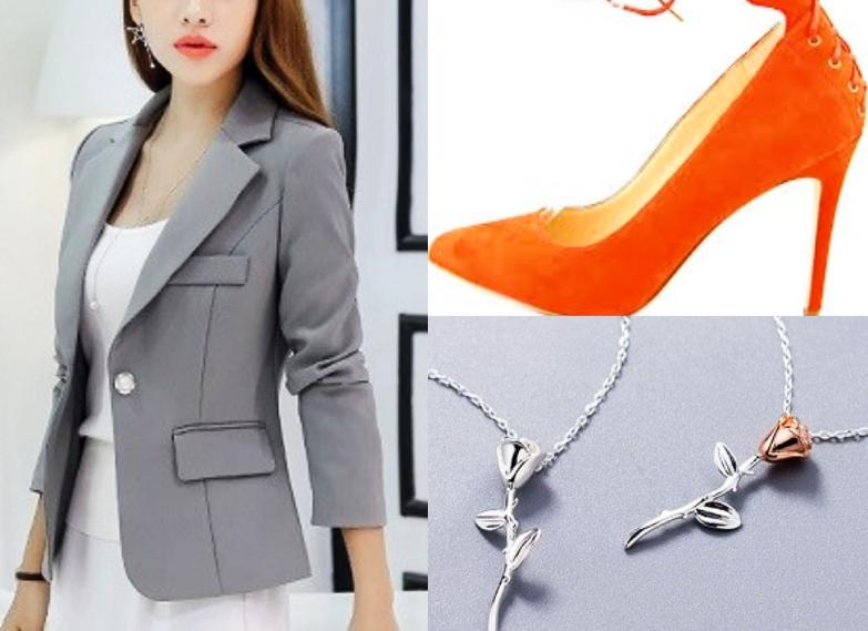 Solid Grey Coat with Silver Rose Necklace