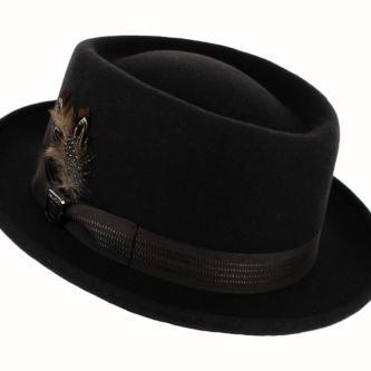 stylish black hat for men- Wool Pork Pie Hat
